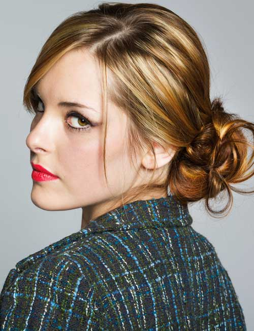 Best Long Hair With Bangs Looks - Low Messy Bun With Side Bangs