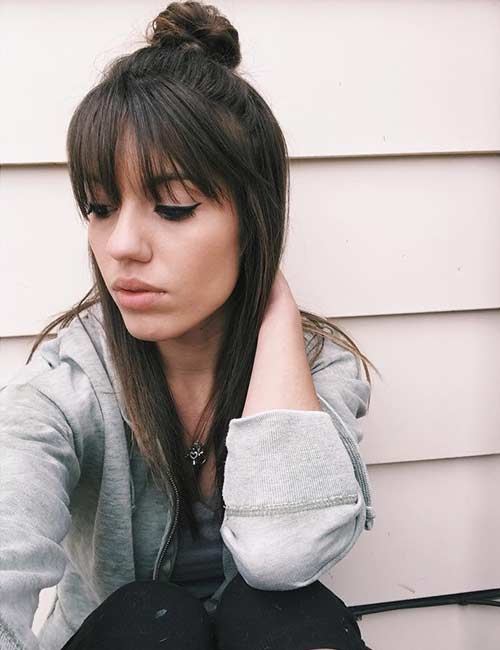 Best Long Hair With Bangs Looks - Straight Top Knot With Bangs