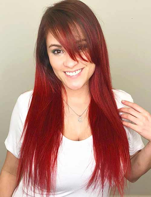 Best Long Hair With Bangs Looks - Long Straight Colored Hair With Bangs