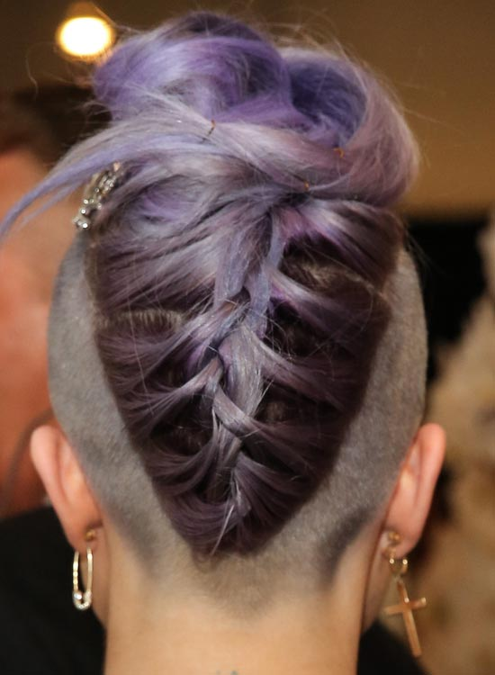 Purple-Braided-Updo-on-Almost-Bald-Head