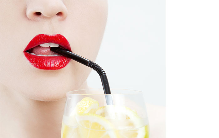 straw while drinking as this prevents