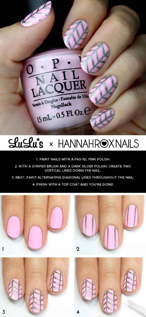 Pastel Pink Nail Art Design - Simple Nail Art Tutorial - Top 50 Latest And Simple Nail Art Designs For Beginners 2017