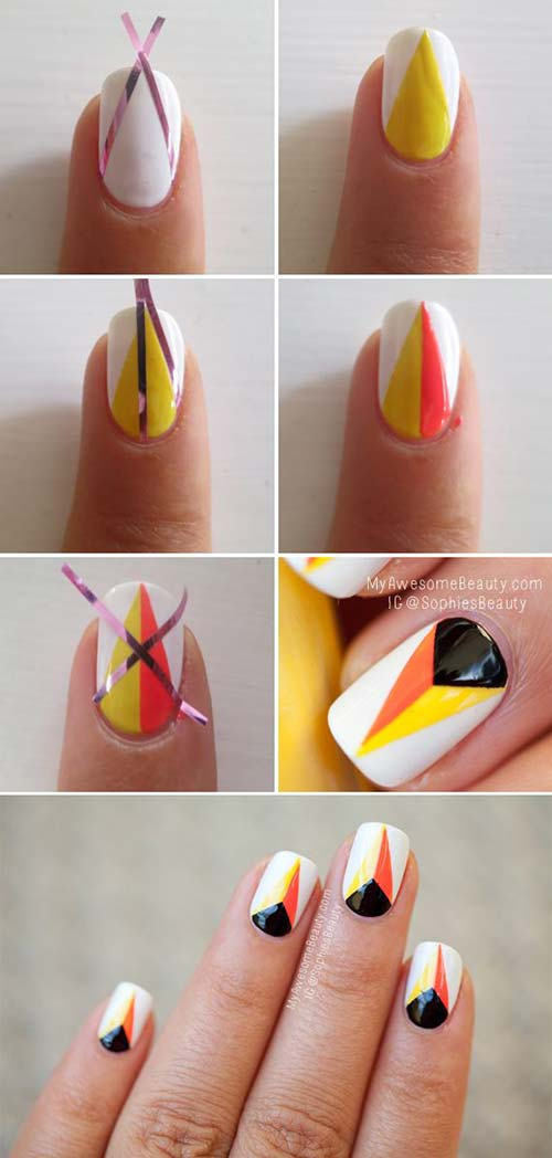Simple Nail Designs - 1. White And Orange Flames Nail Art - 25 Easy Nail Art Designs (Tutorials) For Beginners - 2018 Update