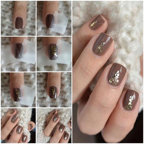 Easy Nail Designs For Beginners - 12. Chocolate Gold Nail Art