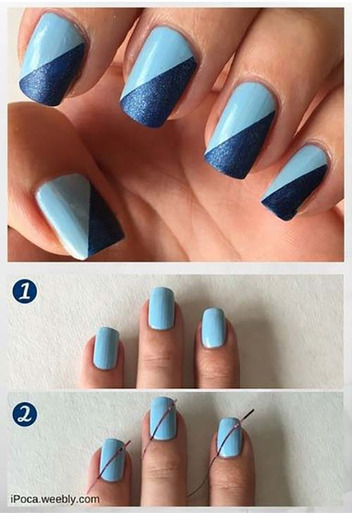 Easy Nail Designs - 14. Two-Toned Blue Nail Art - 25 Easy Nail Art Designs (Tutorials) For Beginners - 2018 Update