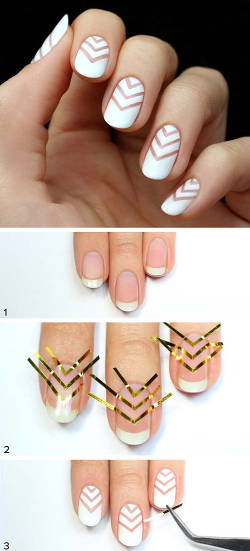 14. White Minimal Chevron Nail Art