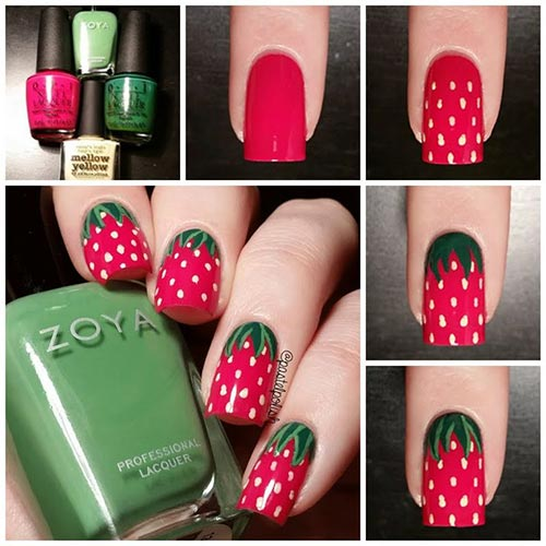 Easy Nail Designs - 15. Strawberry Fields Forever Nails
