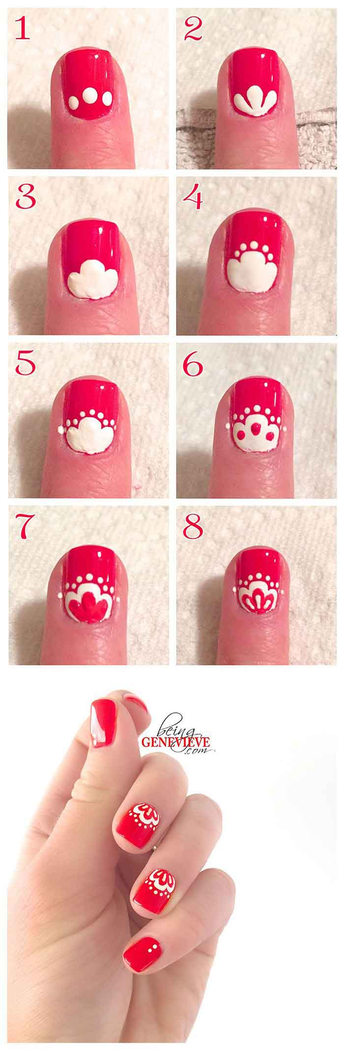 16. Oriental Red Nails Tutorial For Beginners