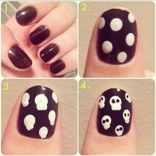 Top 50 latest and simple nail art designs for beginners 2017 halloween skulls nail art prinsesfo Images