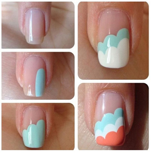 Easy Nail Designs - 18. Triple Cloud Nails Pinit - 25 Easy Nail Art Designs (Tutorials) For Beginners - 2018 Update