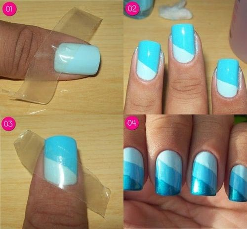 21. Too-Blue Striped Nail Art