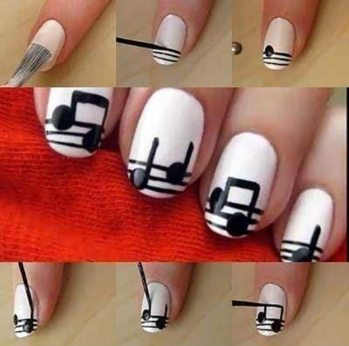 Easy Nail Designs - 22. Musical Notes Nail Art Tutorial