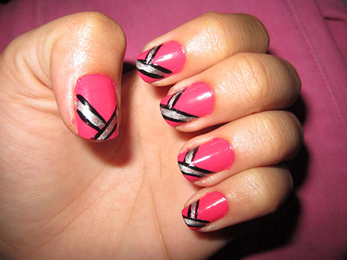 23. Pink and Silver Nails