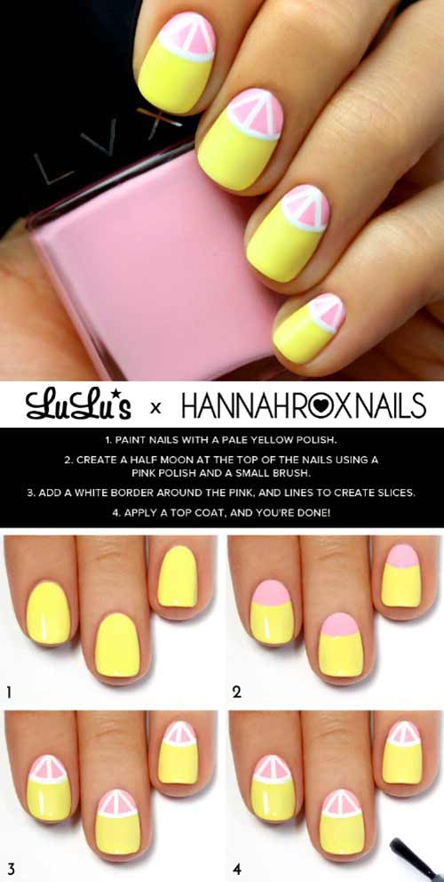 Easy Nail Designs - 24. Yellow Grapefruit Nail Art Tutorial