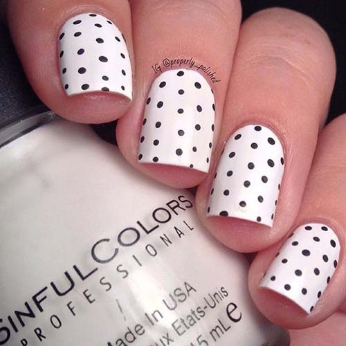 26. Black Polka Nails