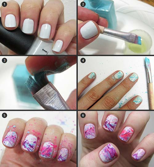 25 easy nail art designs tutorials for beginners 2018 update easy nail designs for beginners 3 color splash nail art prinsesfo Image collections