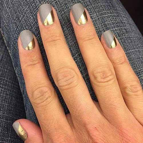 30. Grey and Gold Nail Art
