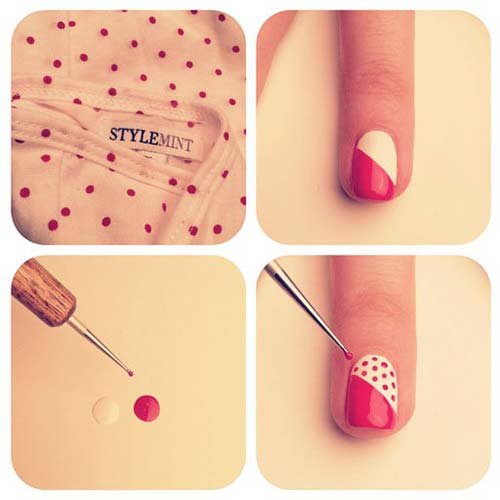 32. Red and White Polka Nail Art