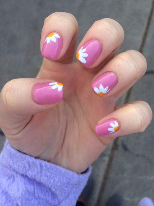 Top 50 latest and simple nail art designs for beginners 2017 pink daisies nail art prinsesfo Gallery