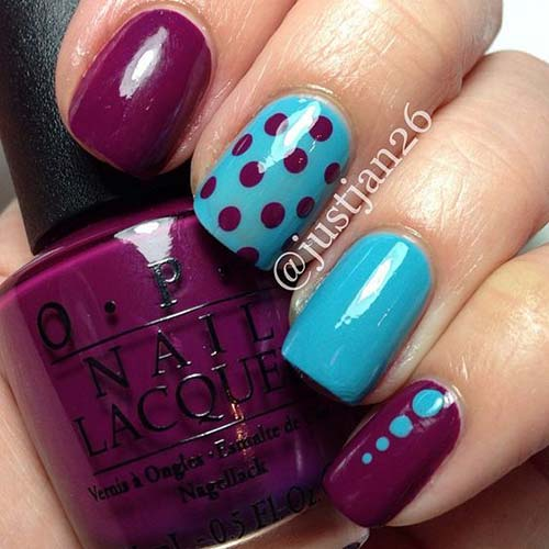 39. Blue and Purple Polka Dot Nails