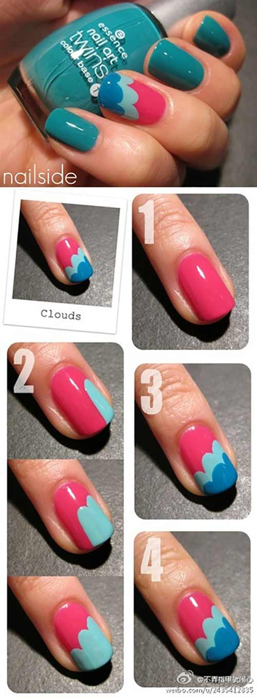 Simple Nail Designs  - 4. Colorful Clouds Nail Art