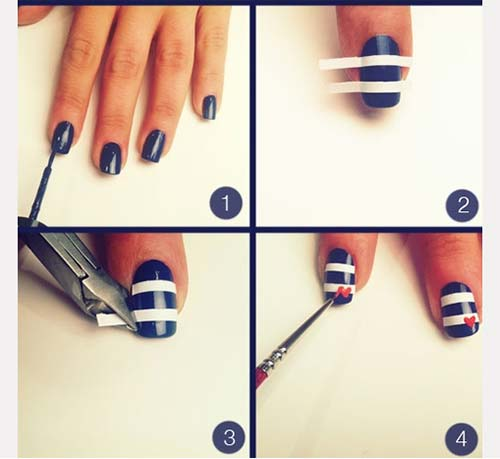 44. Blue and White Striped Nail Art