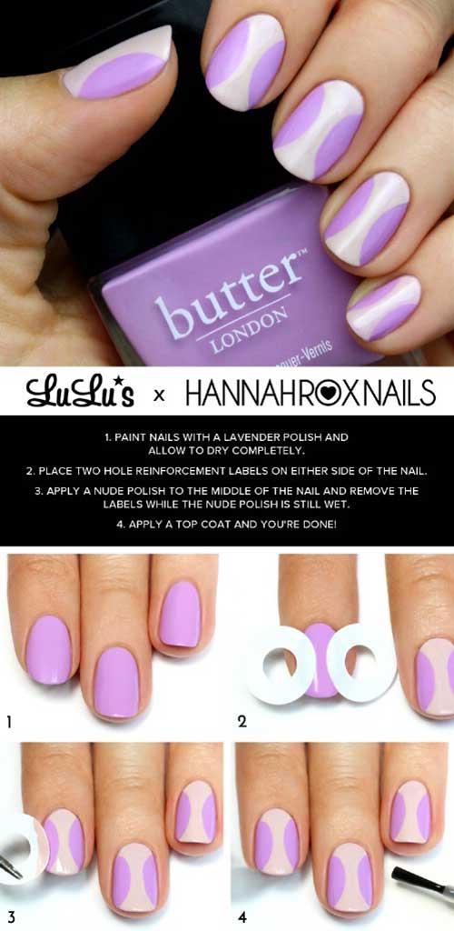 6. Lavender Circles Nail Art