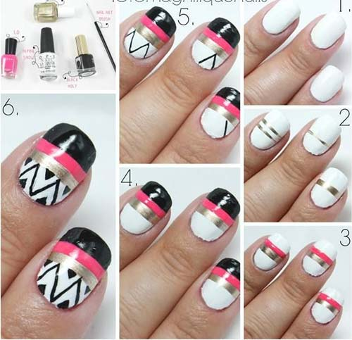 25 easy nail art designs tutorials for beginners 2018 update easy nail designs for beginners 8 striped aztec nail art prinsesfo Images