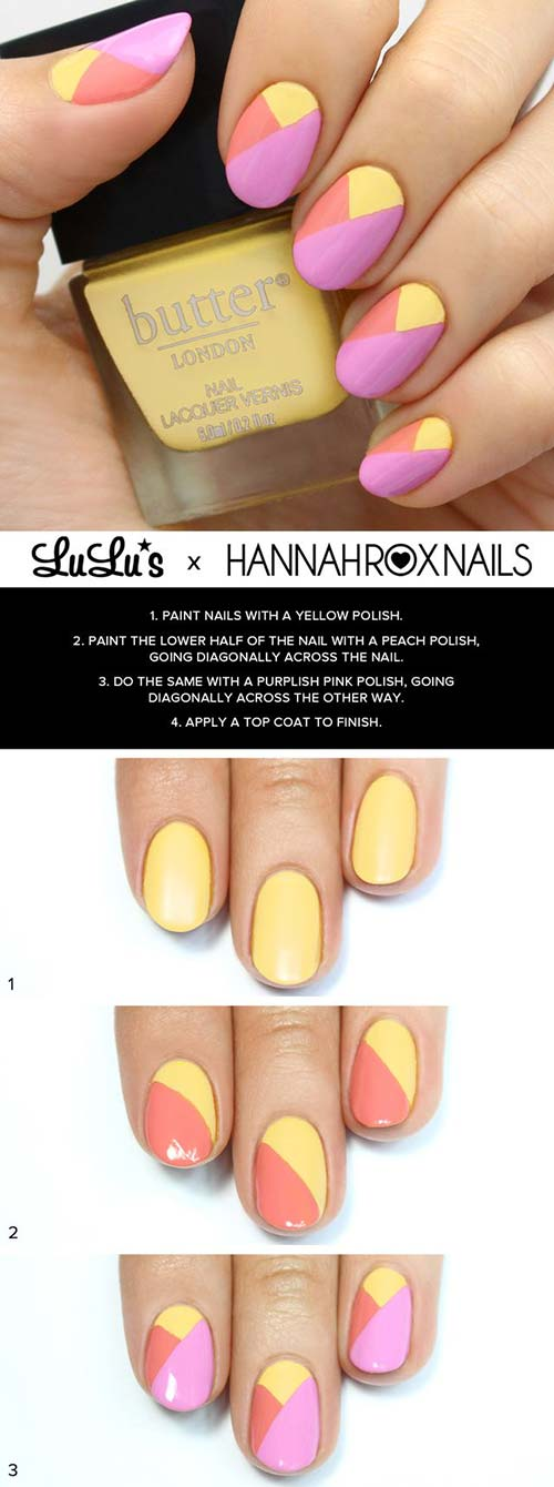 9. Diagon-alley Pink and Yellow Nail Art