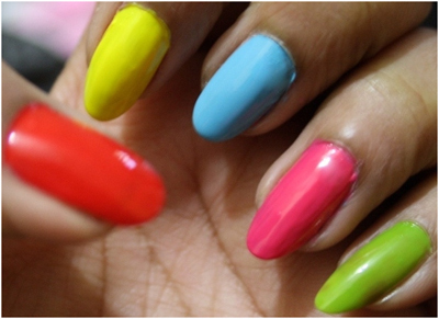 multi color nail design