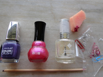 Blingy Pink and Purple Flower Nail Art Tutorial