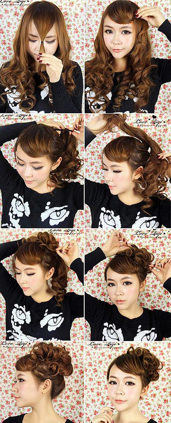Faux-Side-Swept-Bangs-Curly-Bun