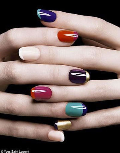Funky or two toned French nails art