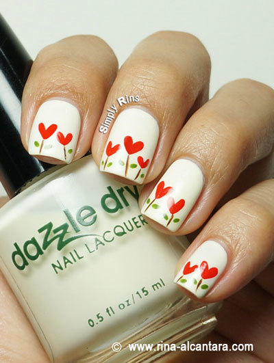 Heart garden nails art