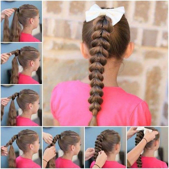 Kids Hair Styles Nice French Braid By Using Ribbon In Criss Cross Manner