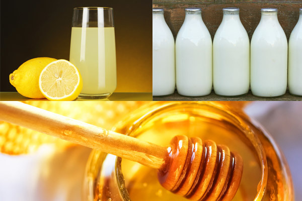 Milk, lemon juice and honey