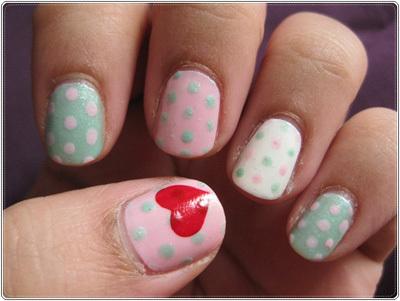 Polka dot heart nails