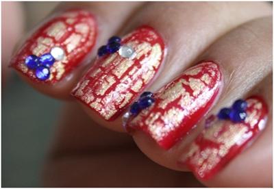 rhinestones nail art designs