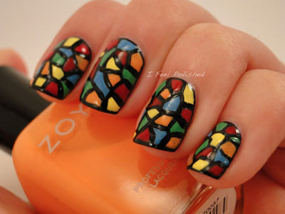 Stain glass nails art