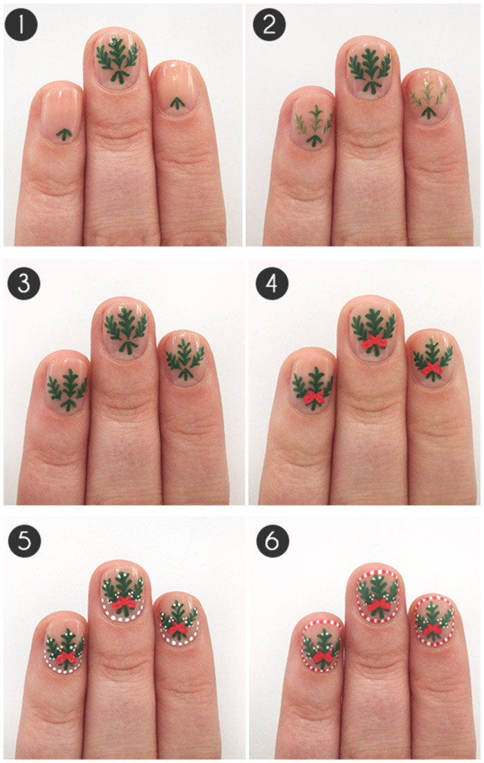 20 fabulous and easy diy christmas nail art design tutorials mistletoed up nail art tutorial prinsesfo Image collections