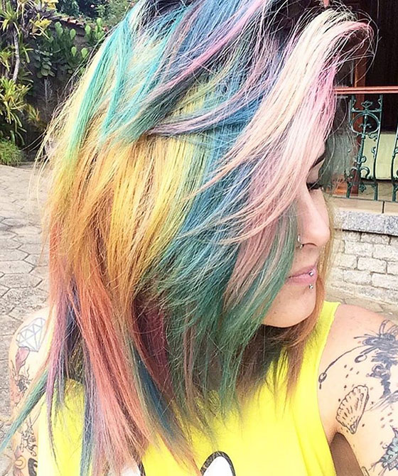 Best Layered Hairstyles With Bangs - Dense Rainbow Bangs