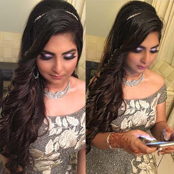 50 best indian hairstyles you must try in 2017 45 curls with a bejeweled headband urmus Image collections