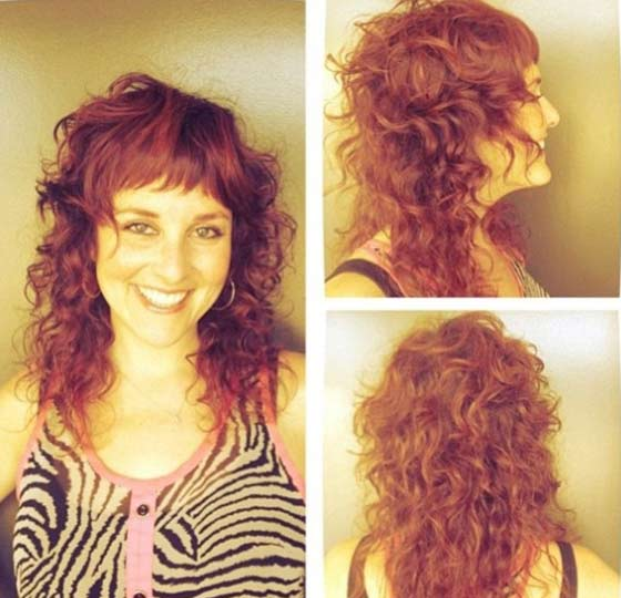 Best Layered Hairstyles With Bangs - Curly Layers With Halfway Bangs