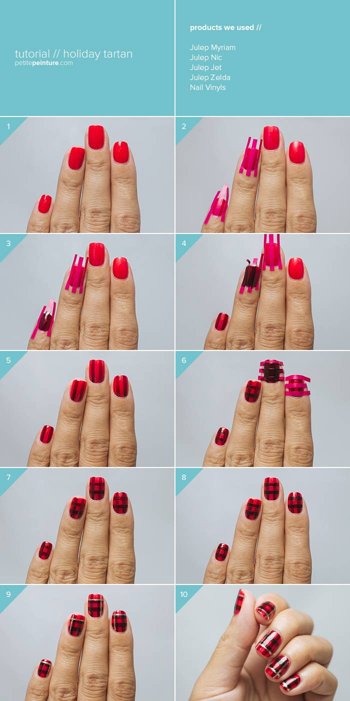 A Very Plaid Christmas Nail Art Tutorial - Infographic