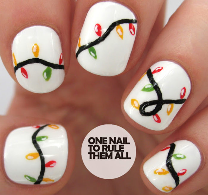 Christmas Lights Nail Art Designs