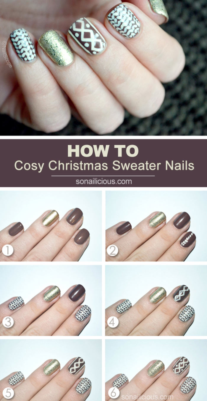 How To Apply Christmas Sweater Nail Design? - Tutorial