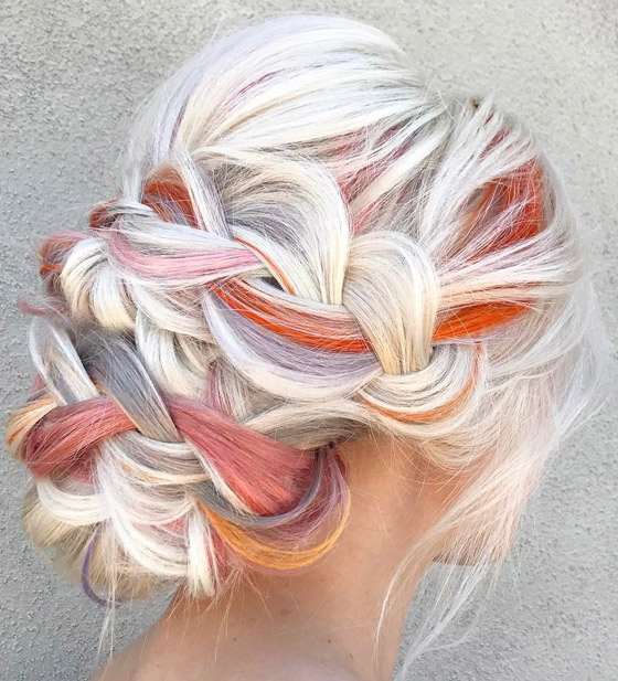 Colorful-Braided-Bun