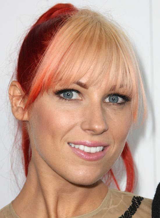 Copper-Red-High-Ponytail-with-Peach-Front-Fringes
