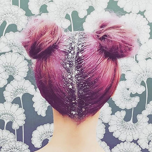 Cute Pink Hair Buns