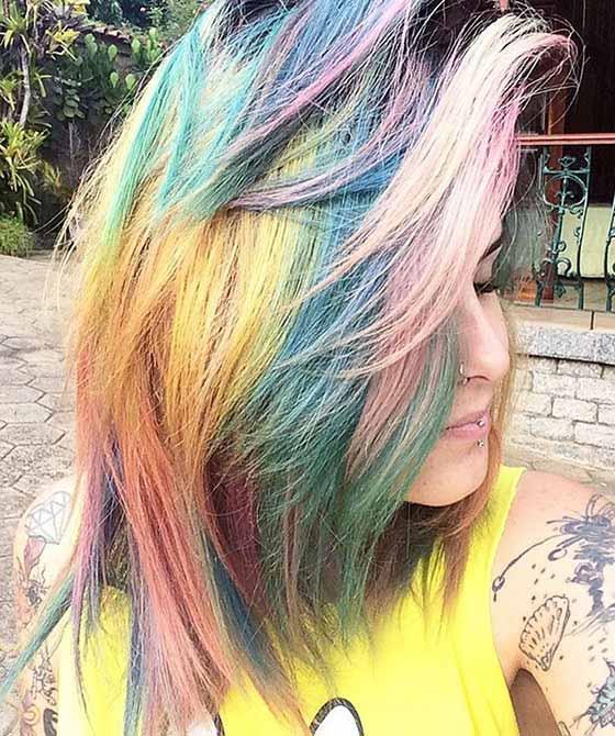Dense Rainbow Bangs